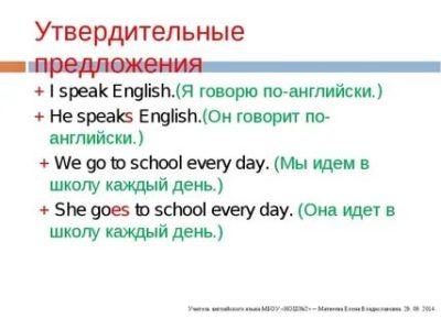 что такое утвердительное предложение в английском языке