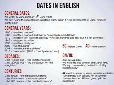 как читать даты на английском