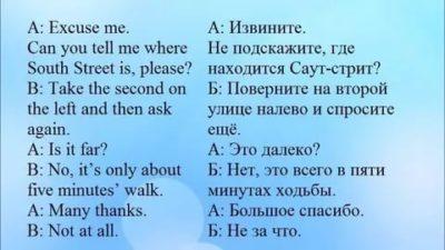 диалог на английском как пройти куда то