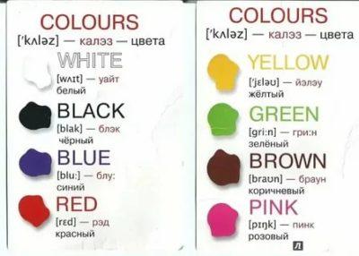 как по английски цвета произношение