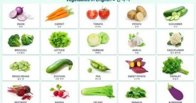 как по английски овощи