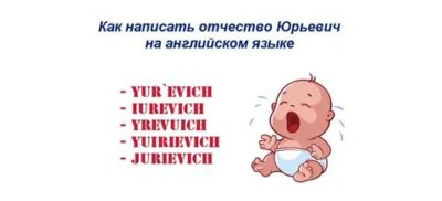юрьевич на английском как пишется