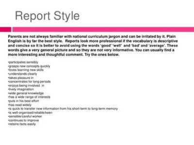 как писать report на английском языке