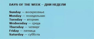 как по английски дни недели