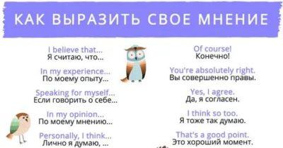 как выразить свое мнение на английском