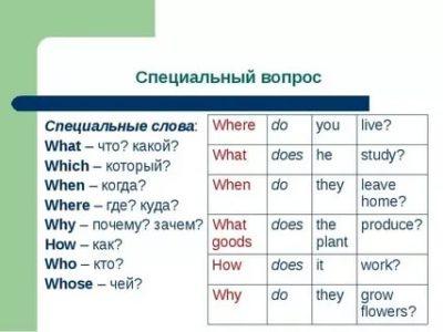 что такое специальный вопрос в английском языке