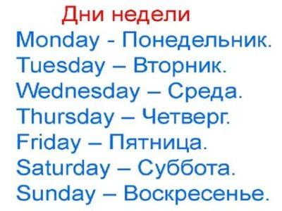 как по английски неделя